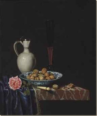 Hubert Van Ravesteyn, Nature morte aux noix et rose