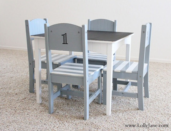 child table chairs makeover