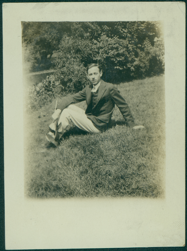 W. Dorr Legg, here sitting on the grass, graduated in 1928 from the landscape design program at the University of Michigan and earned a scholarship to the Foundation for Architecture and Landscape Architecture in Lake Forest, Illinois. Circa 1930s.
