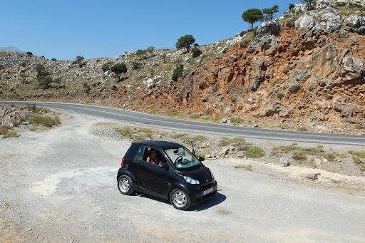 Driving around Crete in style. Renting a car is highly recommended by the duo.