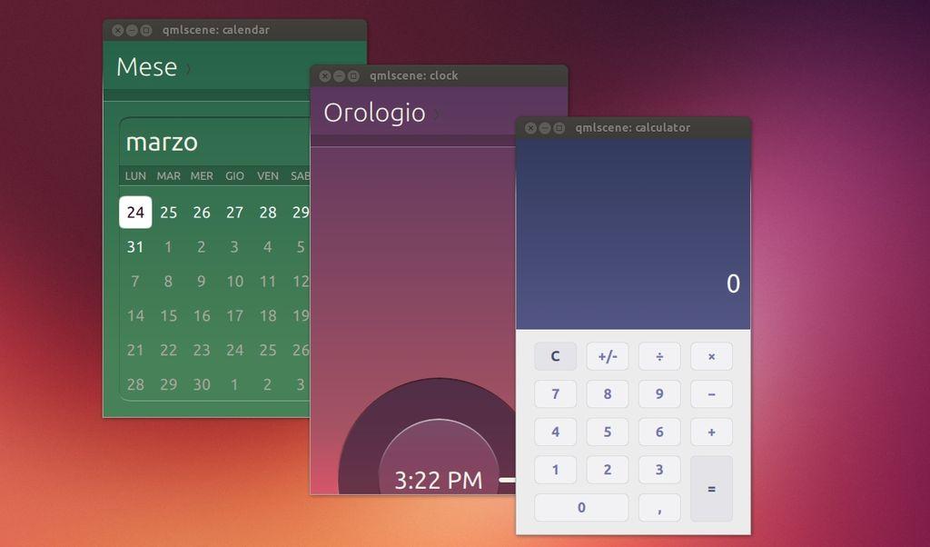 applicazioni di Ubuntu Touch nella versione Desktop di Ubuntu