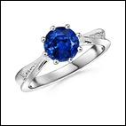 Round Sapphire and Diamond Tapered Shank Ring