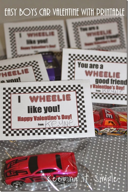 Easy Boys Car Valentines with Free Printable