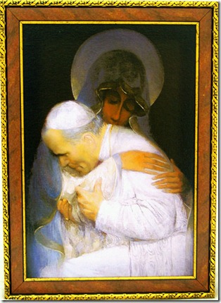 Pintura do Papa abraçando a Virgem Maria