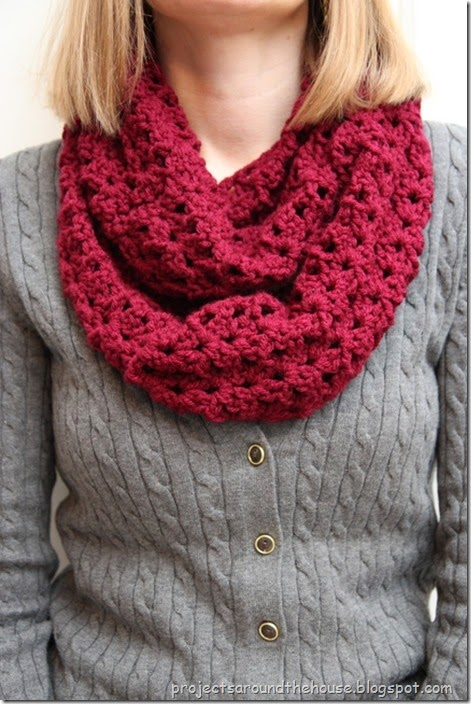 Double Crochet Infinity Scarf Free Pattern : Projects Around the House: Crochet Double V Stitch Quick ...