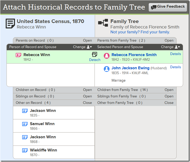 Enhanced attach record example with no matches lined up
