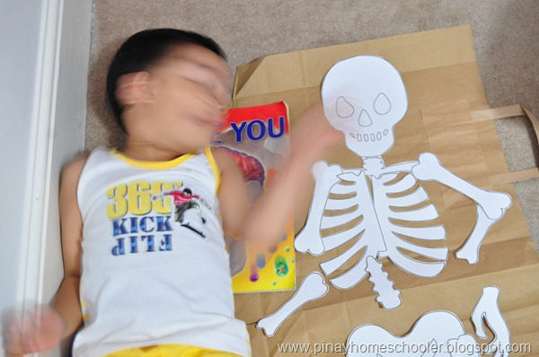 Lying Down Beside Our DIY Human Skeleton Puzzle