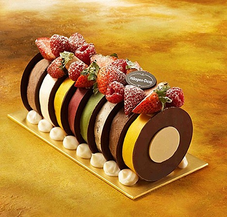HAAGEN-DAZS RAINBOW LOG  A kaleidoscope of all-time favorite ice  cream and sorbet flavours - Chocolate, Vanilla, Green Tea, Macadamia Nut, Mango Sorbet and Raspberry Sorbet.