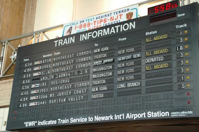 Newark Penn Stationの行き先表示