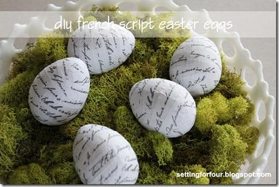 DIY French Script Easter Eggs from Setting for Four #diy #tutorial #french #easter #egg #script #modpodge