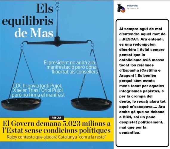 Balanç politic en Catalonha Artur Mas governa amb Madrid.