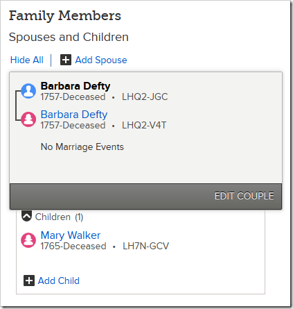 Barbara Defty is married to herself