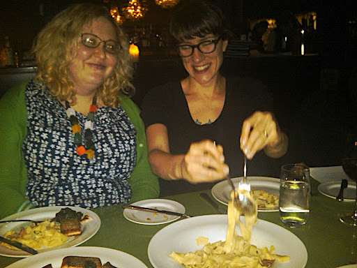 Sherri and Corinne at dinner.