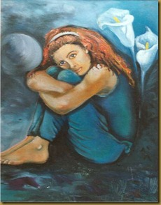 LONELY GIRL IN OIL