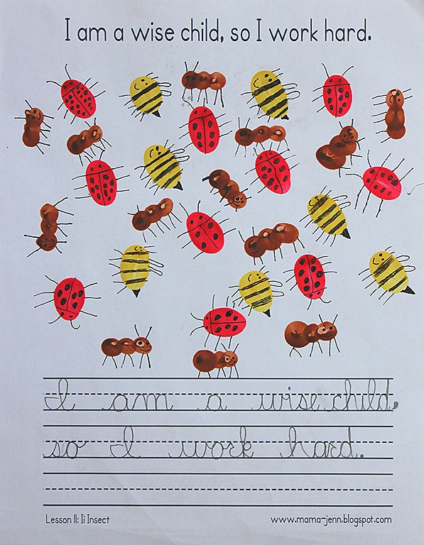 My Father's World Kindergarten Words to Remember Copywork: Ii for Insect