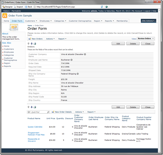 Order and Order Details in Code On Time web application Preview