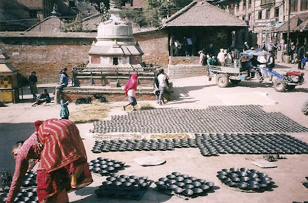 Traditional Nepal: how they make pottery in Bhaktapur, Nepal
