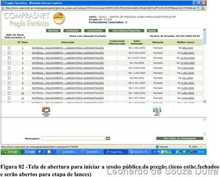 Site comprasnet.gov.br - tela de abertura para iniciar a sessão pública do pregão