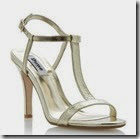 Dune Metallic Reptile Print Leather T Bar Sandal