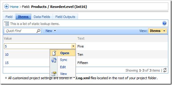 Open context menu option for an item.