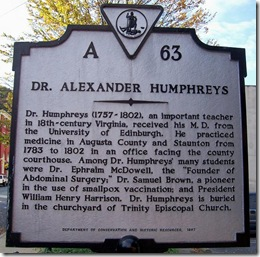 Dr. Alexander Humphreys  Marker A-63  City of Staunton, VA