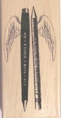 winged pen pencil rubber stamp