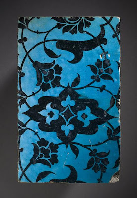 Tile | Origin: Syria, Damascus | Period:  16th century | Collection: Shinji Shumeikai Acquisition Fund (M.2001.85.4) | Type: Ceramic; Architectural element, Fritware, underglaze-painted, 4 1/4 x 7 x 7/8 in. (10.8 x 17.78 x 2.22 cm)