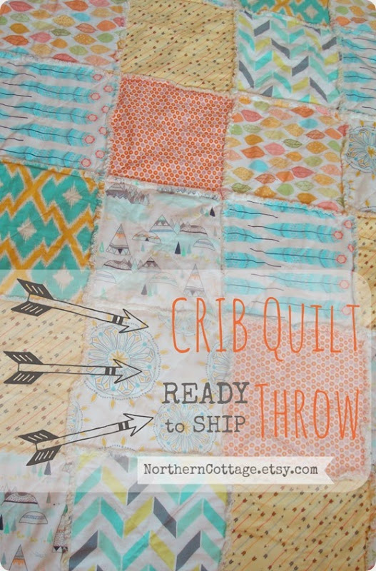 Crib Quilt Throw Aztec RTS {NorthernCottage}