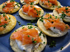 Smoked salmon and blini made by Andrew to pair with the wines.