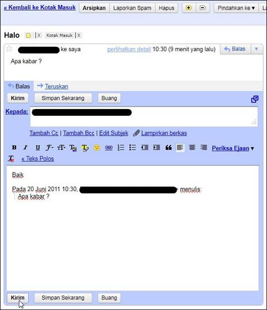Tampilan mengirim email balasan di Gmail
