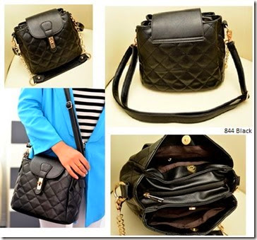 SY 844 Black (186.000) - PU Leather, 30 x 31 x 17, tali panjang