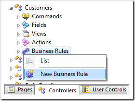 New Business Rule for Customers controller.