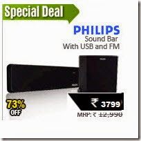 Shopclues: Buy Philips Sound Bar DSP475U with usb & FM at Rs. 3549 with 72 Cluebucks Cashback