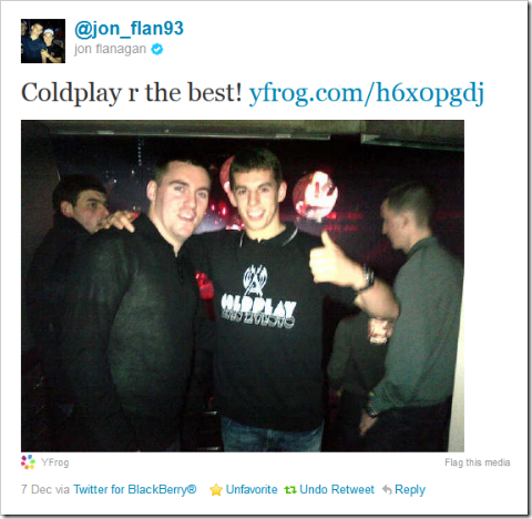 Twitter - @jon_flan93- Coldplay r the best!
