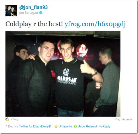 Twitter - @jon_flan93- Coldplay r the best!