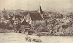 """Scharmbeck um 1860 mit dem alten Kirchturm; aus J. Segelken """"Heimatbuch"""", 1938"""