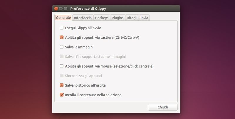 Glippy - Preferenze