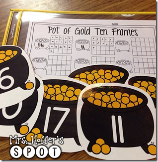 Pots of Gold are lucky. St. Patrick's Day is all about pots of Gold and what a great way to work on Ten Frames.