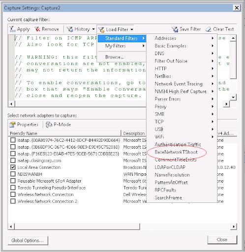 Microsoft Network Monitor BaseNetworkTshoot