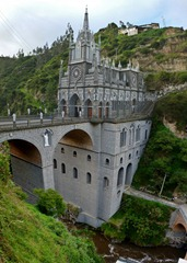 Santuario de Las Lajas spans this narrow gorge near Ipiales, Colombia.