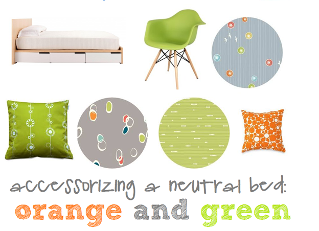 accessorizing a neutral bed with multicolor green