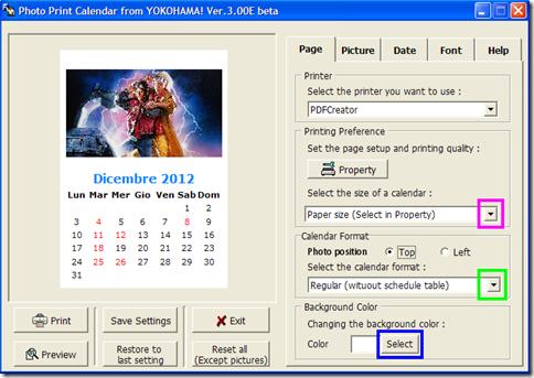 Photo Print Calendar