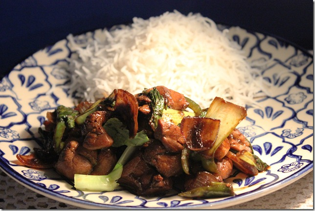 stir fried soy chicken with bokchoy