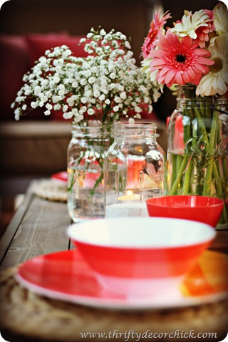 coral summer tablescape