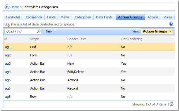 Action Groups tab on the Controllers page of the Project Browser.
