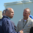 Governor Beebe joins  Jeh Johnson and President Clinton viewing tornado damage