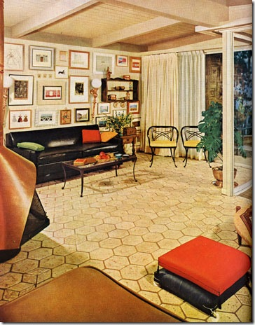 This living room's elegant refinement is achieved in a deceptively small area with easily maintained materials to make housekeeping simple. The result is an equally good setting for entertainment and a busy life. Featured in the May 1962 issue.
