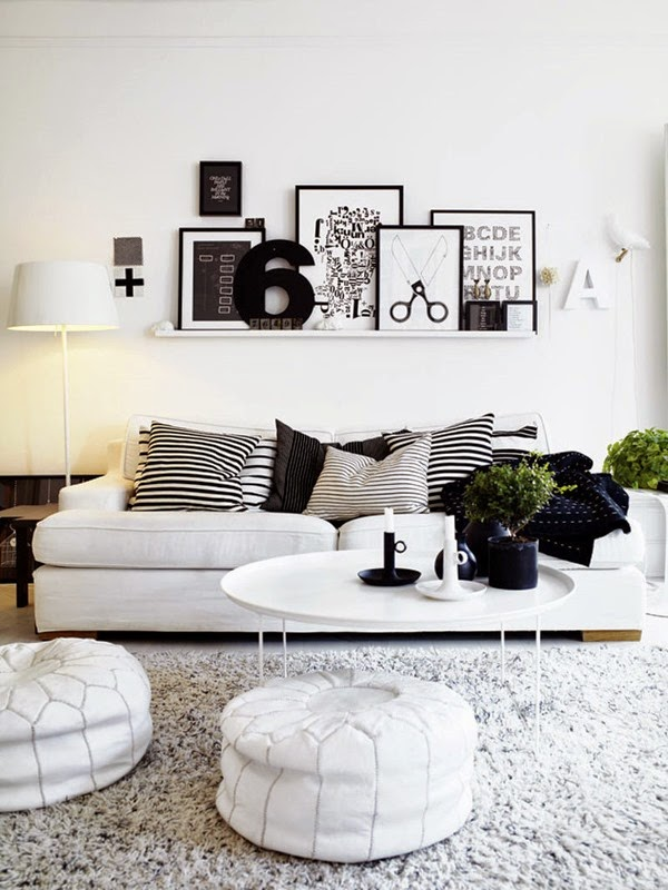 decorating-ideas-living-room-scandinavian-comfy-black-and-white-living-rooms-decor-using-decorative-frames-and-pillows-also-round-ottoman-in-white-furry-area-rug-interesting-black-and-white-living-ro