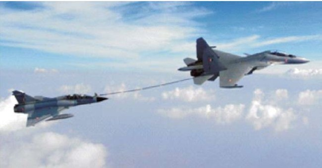 Indian Air Force Sukhoi Su-30 MKI performs buddy-buddy refuelling with a Mirage-2000 fighter aircraft