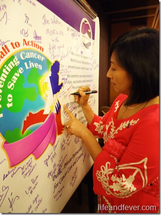 cancer advocacy wall signing